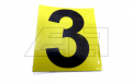 """Aufkleber """"3"""" 65mm Gelb schwarze Zahl"""